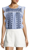Veronica Beard Cece Sleeveless Embroidered Striped Poplin Top, Blue/White
