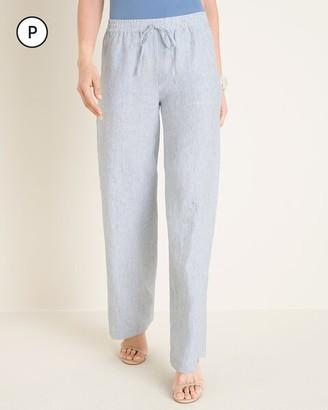 Chico's Petite Striped Linen Drawstring Wide-Leg Pants
