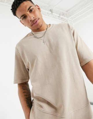 Topman two-piece oversized short sleeve sweat in washed stone