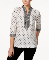 Charter Club Embroidered Printed Tunic, Only at Macy's