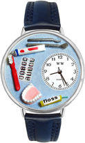Whimsical Watches Personalized Dentist Womens Silver-Tone Bezel Blue Leather Strap Watch
