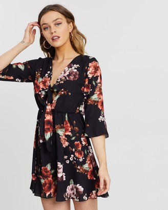 boohoo Floral Print Tie Front Skater Dress