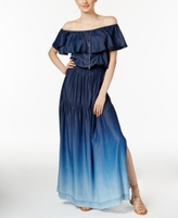 INC International Concepts Petite Denim Off-The-Shoulder Maxi Dress, Created for Macy's