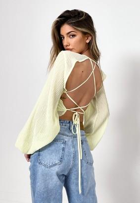 Missguided Lemon Sheer Crinkle Open Back Crop Top