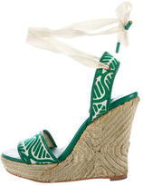Diane von Furstenberg Canvas Wedge Sandals