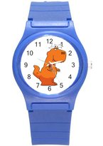 "Kidozooo Boys Girls T-Rex Looking Drunk 1 1 3/8"" Diameter Plastic Watch Blue"
