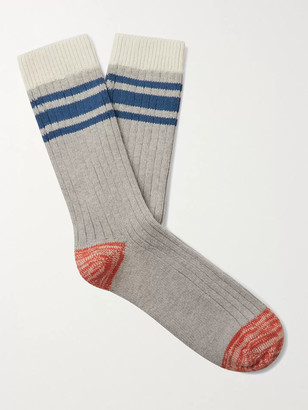 Thunders Love Saturday Striped Cotton-Blend Socks