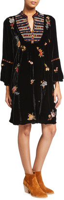 Johnny Was Sisilia Floral Embroidered Flare-Sleeve Velvet Dress
