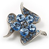 Avalaya Dazzling Light Crystal Floral Brooch
