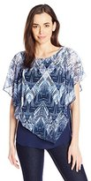 NY Collection Women's Printed Chiffon Poncho with Solid Tank Underlay