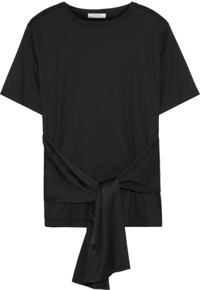Nina Ricci Tie-front Cotton-jersey And Satin T-shirt