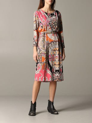 Etro Jersey Dress With Paisley Print And Belt