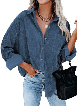 Zereesa Womens V Neck Roll Up Long Sleeve Pocket Corduroy Shirts Casual Boyfriend Button Down Petite Blouses Solid Color Casual Tops Sky Blue 14 16
