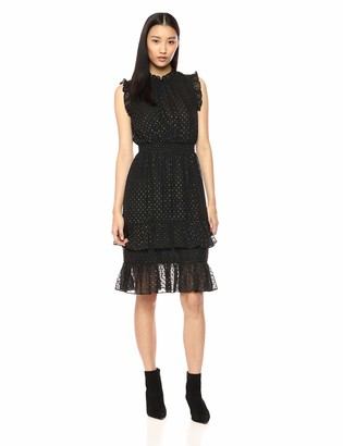 AVEC LES FILLES Women's Two Tone Metallic Clip Dot Dress