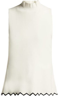 Proenza Schouler Zigzag-hem High-neck Cady Top - Ivory Multi