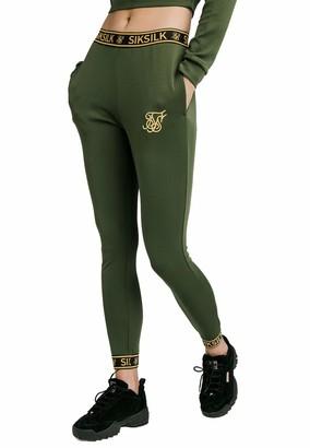SikSilk Taped Track Pants Bronze Green (UK 12)