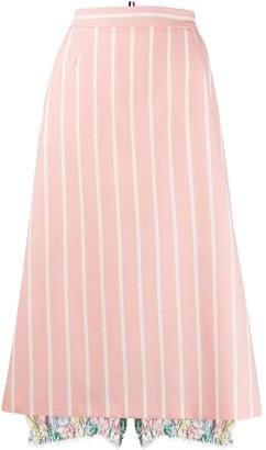 Thom Browne Striped Flared Skirt