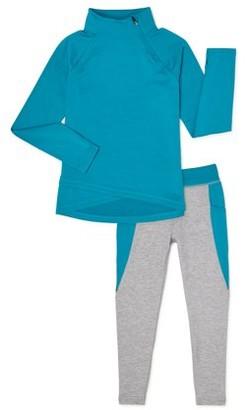 Athletic Works Girls 4-18 Cozy 1/4 Zip Pullover Sweatshirt and Legging, 2-Piece Active Set
