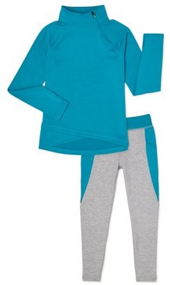 Athletic Works Girls Cozy 1/4 Zip Pullover Sweatshirt and Leggings, 2-Piece Active Set, Sizes 4-18