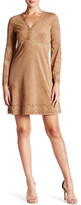 Max Studio Bell Sleeve Faux Suede Shift Dress