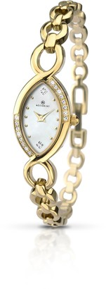 Accurist Women's Quartz Watch with Mother of Pearl Dial Analogue Display and Gold Bracelet 8048.01