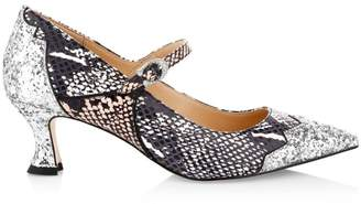 Coach X Tabitha Simmons Edith Python-Embossed Leather & Glitter Mary Janes