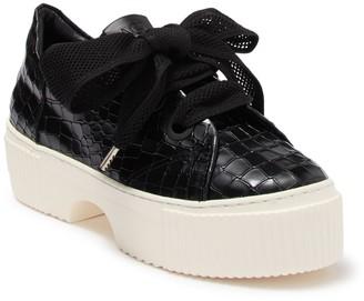 Attilio Giusti Leombruni Croc Embossed Oxford Platform Sneaker