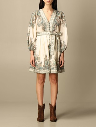 Zimmermann Short Dress In Paisley Patterned Linen