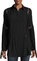 Dance & Marvel Woven Cutout Lace Tunic, Black