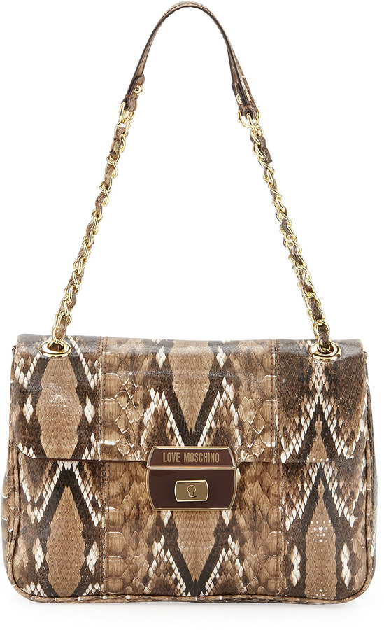 Moschino Medium Chain-Strap Snake-Print Satchel, Natural