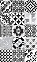 Beija Flor - Eclectic Vinyl Floor Mat - Black & White - Medium