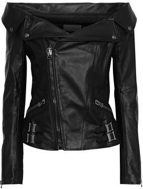 Faith Connexion Off-the-shoulder Textured-leather Biker Jacket