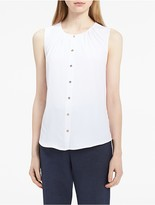 Calvin Klein Button-Down Stretch Sleeveless Top