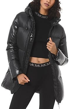 MICHAEL Michael Kors Hooded & Quilted Cire Puffer Coat