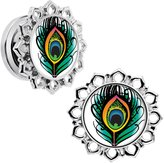 Body Candy Steel Green Orange Peacock Feather Flower Frame Screw Fit Plug Set of 2 1/2""