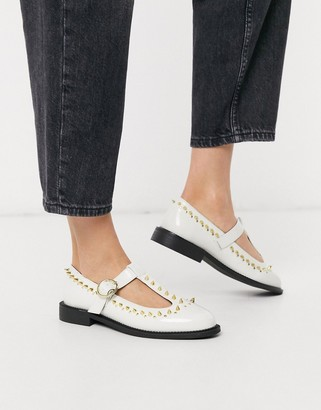 Asos DESIGN Mercy studded flat shoes in bone