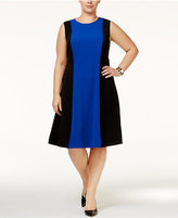 Kasper Plus Size Colorblocked A-Line Dress