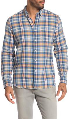 Frame Plaid Print Fray Hem Slim Fit Work Shirt