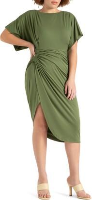 ELOQUII Dolman Sleeve Gathered Dress