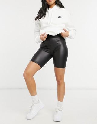 ASOS DESIGN leather look legging short in black