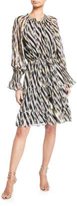 Figue Kala Geometric-Striped Knee-Length Dress