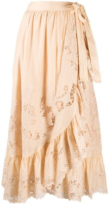 Zimmermann A-line tiered openwork skirt