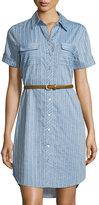 Neiman Marcus Belted Striped Denim Shirtdress, Dark Blue