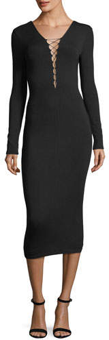 Alexander Wang Stretch-Jersey Long-Sleeve Fitted Cocktail Dress with Lacing