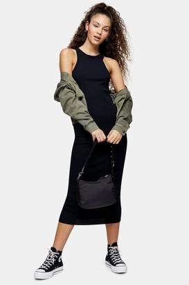 Topshop Womens Black Racer Bodycon Dress - Black