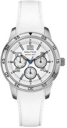 Nautica NCT 405 Women's Quartz Watch with White Dial Chronograph Display and White Rubber Strap A15638M
