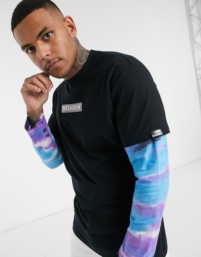 Religion long sleeve logo t-shirt with tie dye sleeves in black