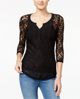 Almost Famous Juniors' Sheer Lace Henley Top