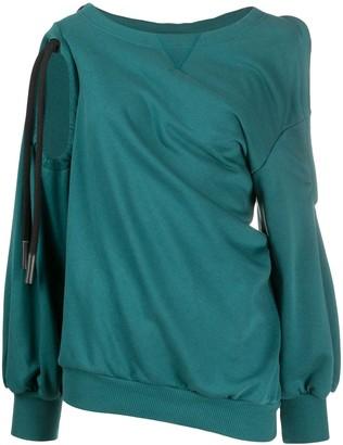 Diesel Twist-Draped Cold-Shoulder Sweatshirt