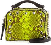 Ash Frankie Studded Leather Crossbody Bag, Yellow Snake